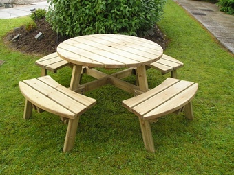 Compact 8 seater Round picnic table Garden Furniture
