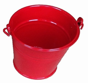 Small Red Metal Bucket Christmas Collection
