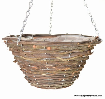"Wicker 14"" Rattan Hanging Basket Planters Collection > - Wicker Collection"