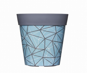 Grey/Blue Geo Planter Planters Collection > - Hum Collection