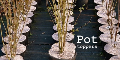Pot Toppers, preventing weeds on container grown nursery stock