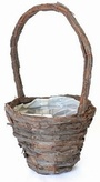 Wicker Bark Handle Basket 25cm